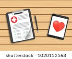 clipboard with medical cross... | Shutterstock .eps vector #1020152563