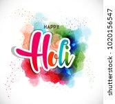 happy holi vector elements for... | Shutterstock .eps vector #1020156547