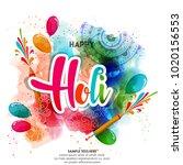 happy holi vector elements for... | Shutterstock .eps vector #1020156553