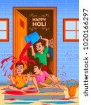 happy holi festival of colors... | Shutterstock .eps vector #1020166297