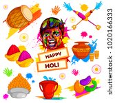 happy holi festival of colors... | Shutterstock .eps vector #1020166333