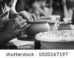an artisan makes a clay pot...   Shutterstock . vector #1020167197