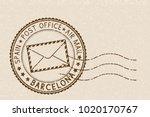 beige postmark barcelona for... | Shutterstock .eps vector #1020170767