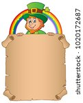 leprechaun holding parchment... | Shutterstock .eps vector #1020172687
