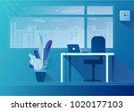 flat office interior...   Shutterstock .eps vector #1020177103