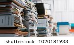 stacks of paperwork and files... | Shutterstock . vector #1020181933