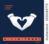 heart shape made with hands   Shutterstock .eps vector #1020185773