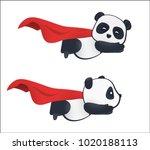 little panda super hero flies... | Shutterstock .eps vector #1020188113