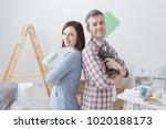 smiling loving couple doing... | Shutterstock . vector #1020188173