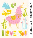 vector i love you card with... | Shutterstock .eps vector #1020190897