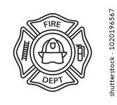 fire department badge linear... | Shutterstock . vector #1020196567