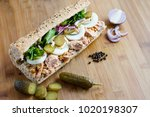 healthy sandwich with whole... | Shutterstock . vector #1020198307