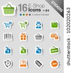 stickers   shopping icons | Shutterstock .eps vector #102020263