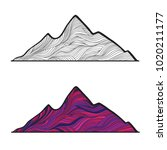 line art mountain  color and... | Shutterstock .eps vector #1020211177