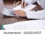 doctor filling in insurance... | Shutterstock . vector #1020214537