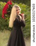 portrait of beautiful blonde...   Shutterstock . vector #1020217603