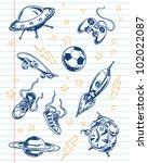 fun sketchy doodles set | Shutterstock .eps vector #102022087