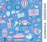 cartoon hand drawn doodles in...   Shutterstock .eps vector #1020222163