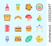 icons about food with croissant ... | Shutterstock .eps vector #1020222697