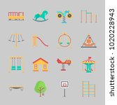 icons about amusement park with ... | Shutterstock .eps vector #1020228943