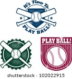 Vintage Style Baseball or Softball Stamps - stock vector