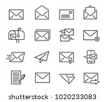 mail line icon set. letters and ... | Shutterstock .eps vector #1020233083