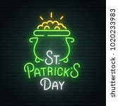 saint patrick's day neon sign ... | Shutterstock .eps vector #1020233983