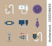 icons connectors cables with... | Shutterstock .eps vector #1020248653