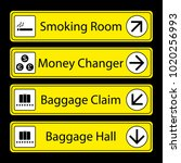 yellow airport signs with... | Shutterstock .eps vector #1020256993