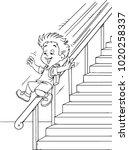 boy sliding down the banister | Shutterstock .eps vector #1020258337