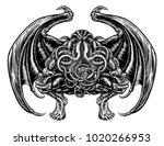 illustration of cthulhu mythos... | Shutterstock .eps vector #1020266953