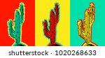 set of pop art cactus pictures. ... | Shutterstock .eps vector #1020268633