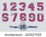 Vintage Distressed Athletic Jersey Numbers - stock vector