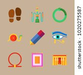 icons egypt with hieroglyph ... | Shutterstock .eps vector #1020275587