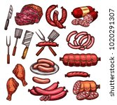 grill meat and sausage sketch... | Shutterstock .eps vector #1020291307