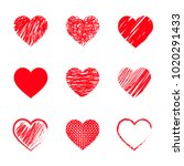 set of red hearts for... | Shutterstock .eps vector #1020291433