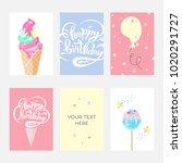 happy birthday invitation cards ... | Shutterstock .eps vector #1020291727