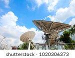 television antenna antenna on... | Shutterstock . vector #1020306373