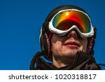 skier with glasses and helmet | Shutterstock . vector #1020318817