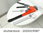 plumber's tools on toilet seat... | Shutterstock . vector #1020319087