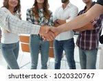 closeup of handshake business...   Shutterstock . vector #1020320767