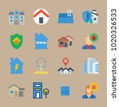 icons real estate with house... | Shutterstock .eps vector #1020326533