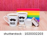 gay marriage concept. two cups... | Shutterstock . vector #1020332203