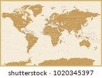 political vintage world map... | Shutterstock .eps vector #1020345397