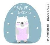 cute. polar bear. scandinavian... | Shutterstock .eps vector #1020347137