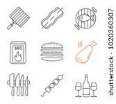 barbecue linear icons set. bbq. ... | Shutterstock .eps vector #1020360307