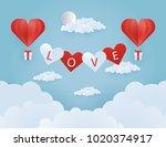 origami made hot air balloon... | Shutterstock .eps vector #1020374917