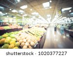 blurred produce section at... | Shutterstock . vector #1020377227