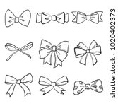 hand drawn bows collection ... | Shutterstock .eps vector #1020402373