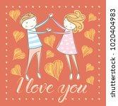 vector couple fall in love.... | Shutterstock .eps vector #1020404983